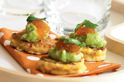 corn blini with-avocado-and-salmon-roe