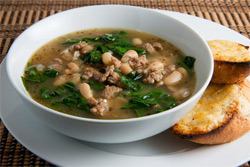 white bean soup with garlic crostini