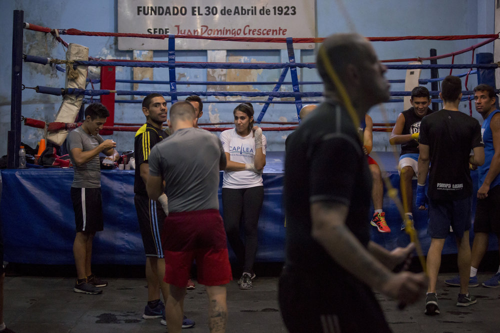 "Karen ""the Bubble"" Carabajal, 27, is a professional boxer and a licensed psycologist. Her story seems straight out of a cliche boxing movie – an alcoholic father, an absent mother, and boxing as a way to get ahead. She is the only woman in the Almagro Boxing Club, in Buenos Aires, Argentina."
