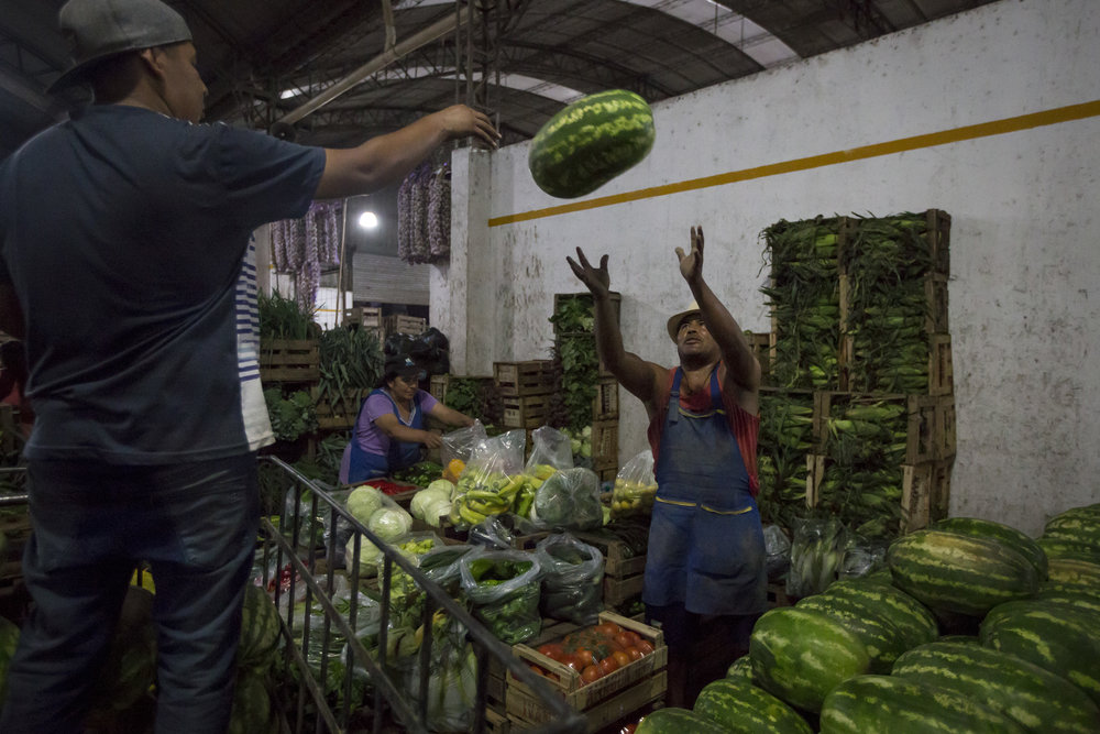 Ruben Sotar, 40, from Villazon, Bolivia, moved to Buenos Aires when he was 12 years old, and now works at the fruit and vegetable market in Escobar, Argentina, on Mar. 1, 2018.