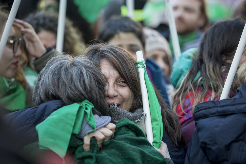 Women celebrate after the bill passed in the lower house with 129 votes in favor and 125 against on June 14, 2018, in Buenos Aires, Argentina. It would go on to be rejected on Aug. 8, 2018, with 38 votes against and 31 in favor.