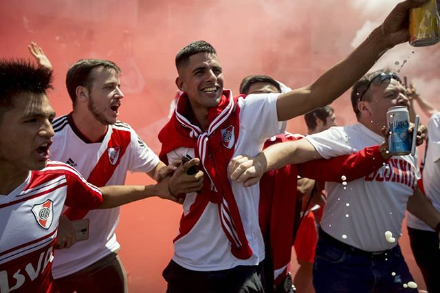River fans pregame near the Estadio Monumental before the second leg of the Copa Libertadores final, on Nov. 24, 2018. The pregame started early: the game was set for 5pm, but by 10am, Av. Libertador and Udaondo was already full of chanting fans, slugging beer, fernet or wine. #onassignment for @espn  #river #buenosaires #argentina