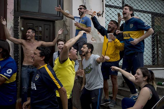 Boca fans pregame before the first leg of the Copa Libertadores final on Nov. 11, 2018. The match, previously suspended due to rain, ended on a 2-2 tie. #onassignment for @espn #boca #buenosaires #argentina