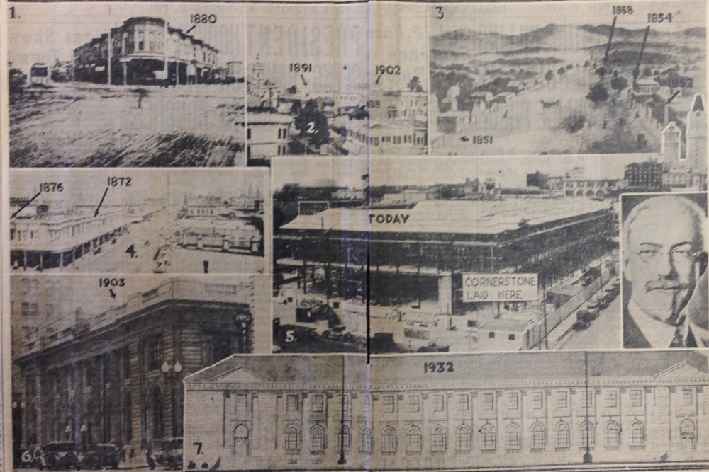 A Tribune feature showing all of the Post Office's homes prior to the Civic Center building.  Courtesy of the Oakland History Room.