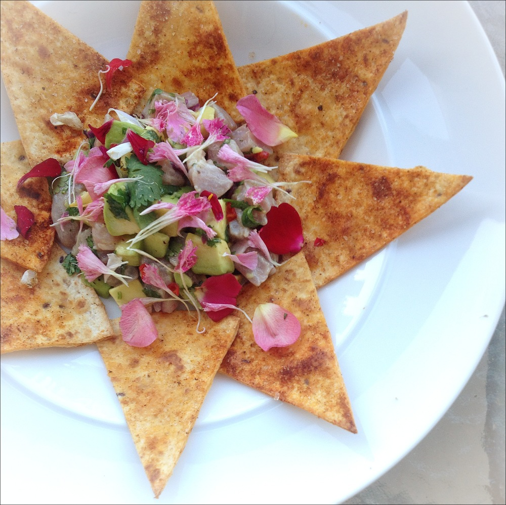 Tuna ceviche with tortilla crisps, petals of dianthus and rose