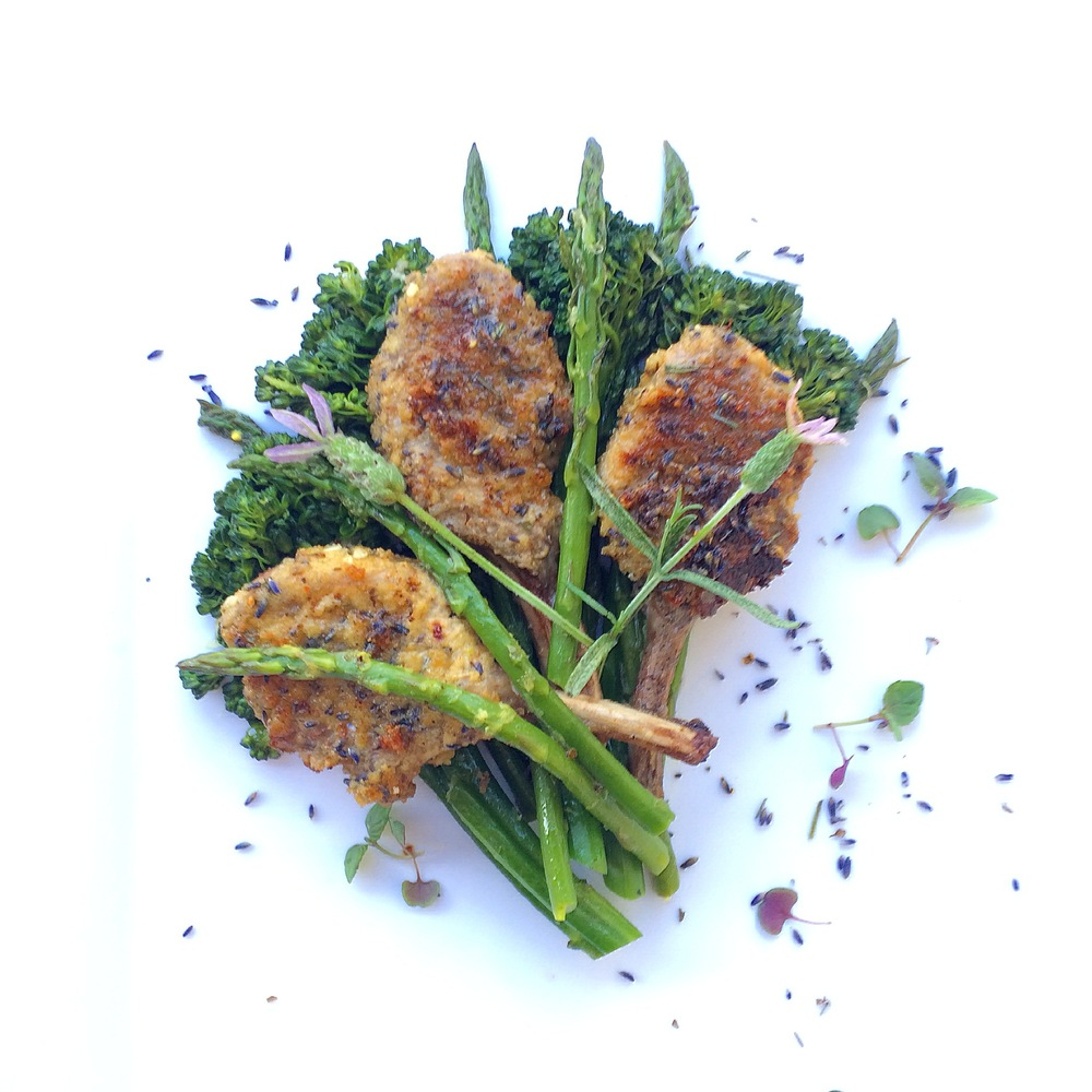 Lavender crusted lamb cutlets in a bouquet of lemony greens