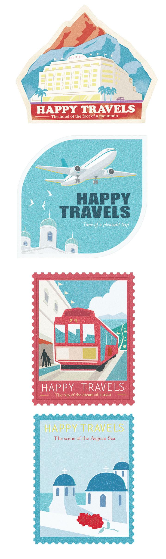 旅行トランクに貼るステッカーです。 世界中のすてきな風景や乗り物をテーマにしました。 すきな景色を選んで、貼って、いつでも、すてきな旅ができますように。