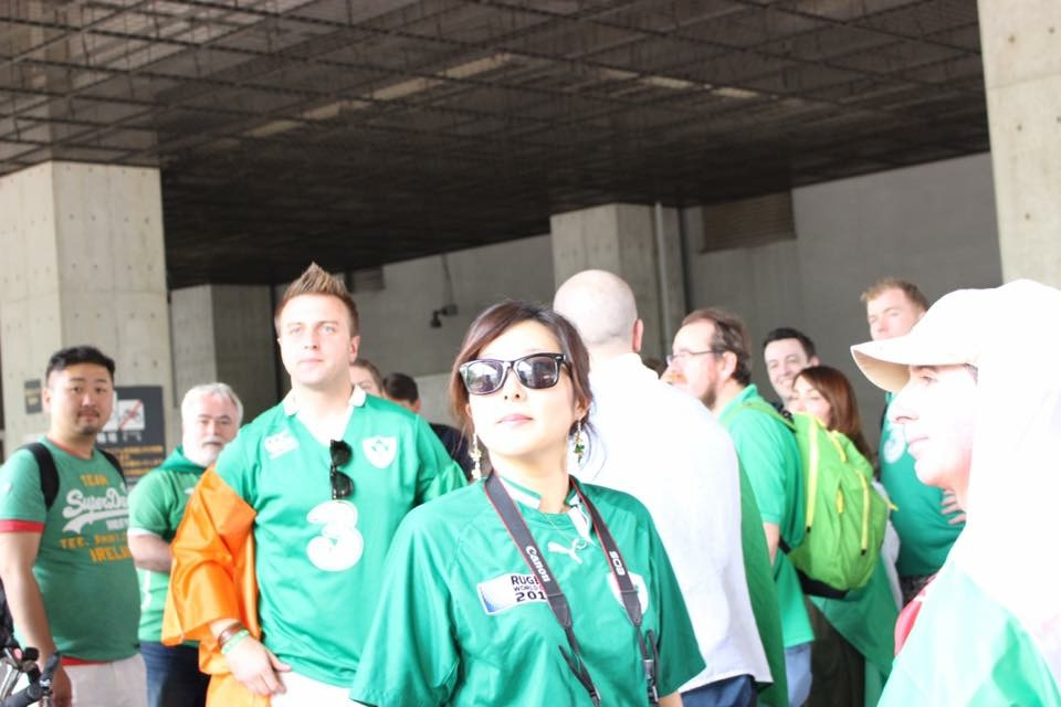 Tour members outside Ajinamoto Stadium during 2017 Ireland vs Japan Summer Series