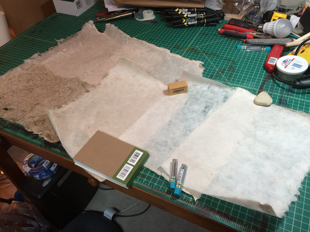 "Left to Right:  Three sheets of Philippine gampi, 11x17""; one sheet of wheat grass with kozo; one sheet of kozo and Japanese gampi blend, 8.5x11""; two sheets of kozo, 8.5x11""."