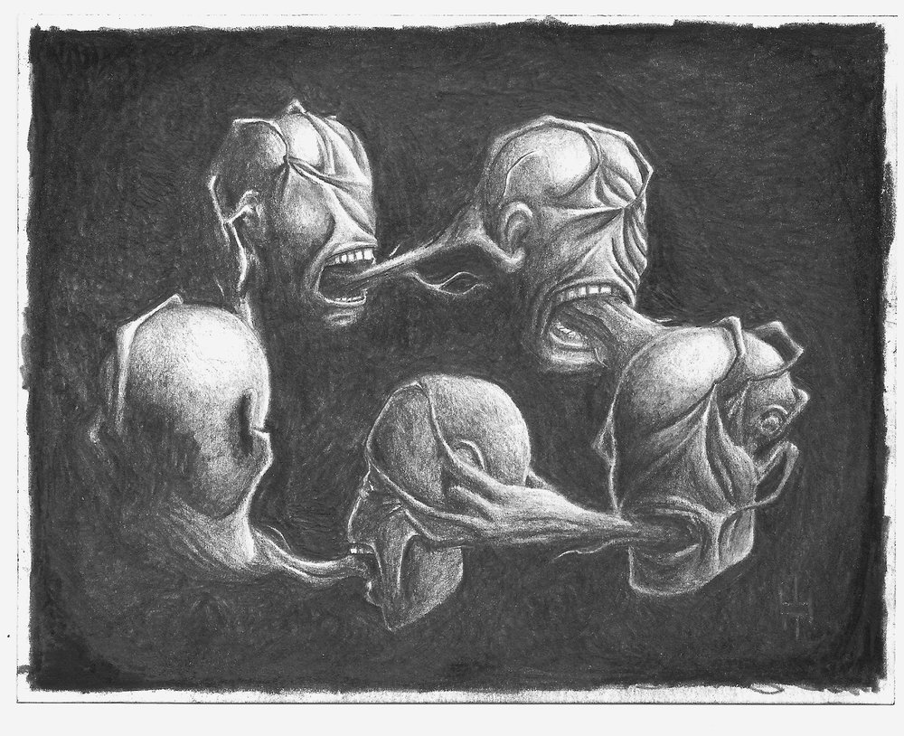 "Violence, Antipode, Graphite on Paper, 5x7"", 2017."