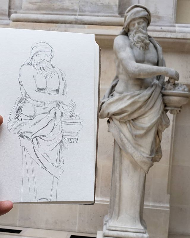 Louvre sketches, 2 of ?. Should invest in a travel easel so I don't have to hold my sketchbook so long, Haha #art #museums #sketching #practice