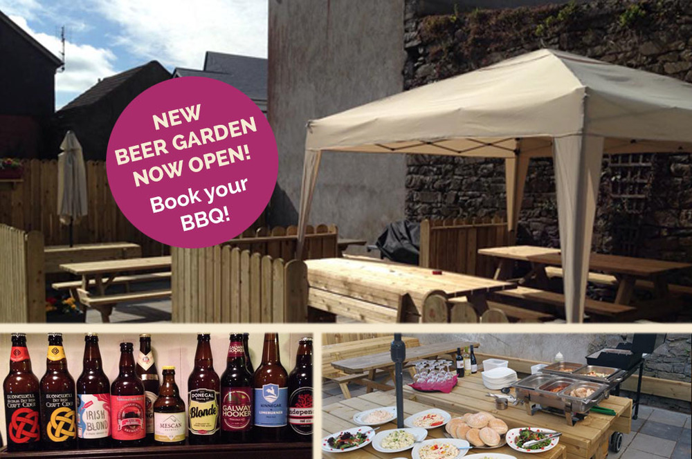 Check out our gastropub menu and selection of craft beers below. We look forward to welcoming you to our new beer garden at Mulroy's, Main Street, Castlebar. Now taking bookings for BBQs!