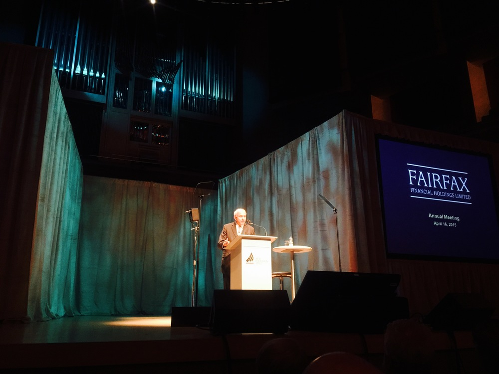 Prem Watsa, CEO and Chairman of  Fairfax Financial  at the annual meeting