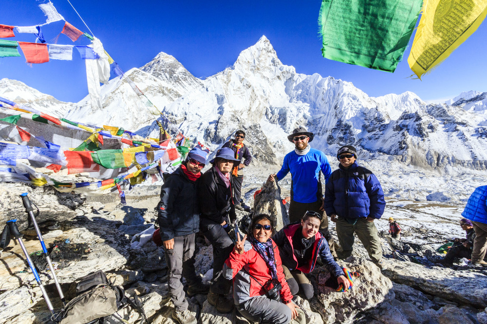 The team with Everest in the background.