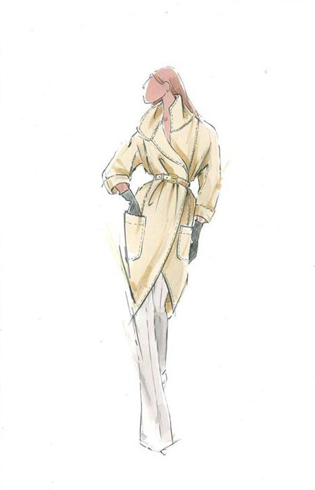 Remember what I said about mixing-and-matching? The same wide-leg trousers is paired with this fabulous belted trench coat that seems to be color inspired by Pantone's Misted Yellow. c/o The Limited