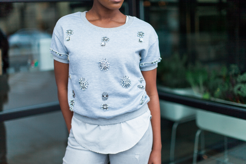 Glam might as well be my middle name. This  jeweled sweatshirt  was a must-have for dressing up a super casual 'fit!