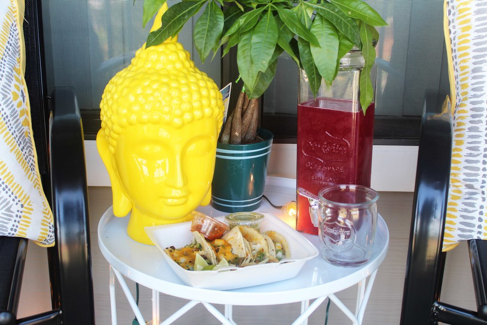 Yellow Ceramic Buddha ($39.99) // Yorkshire Beverage Dispenser ($9.99) // Yorkshire Jar Glasses (Set of 4 for $7.99) // White Metal Side Table (On clearance for $24.99; originally $49.99)