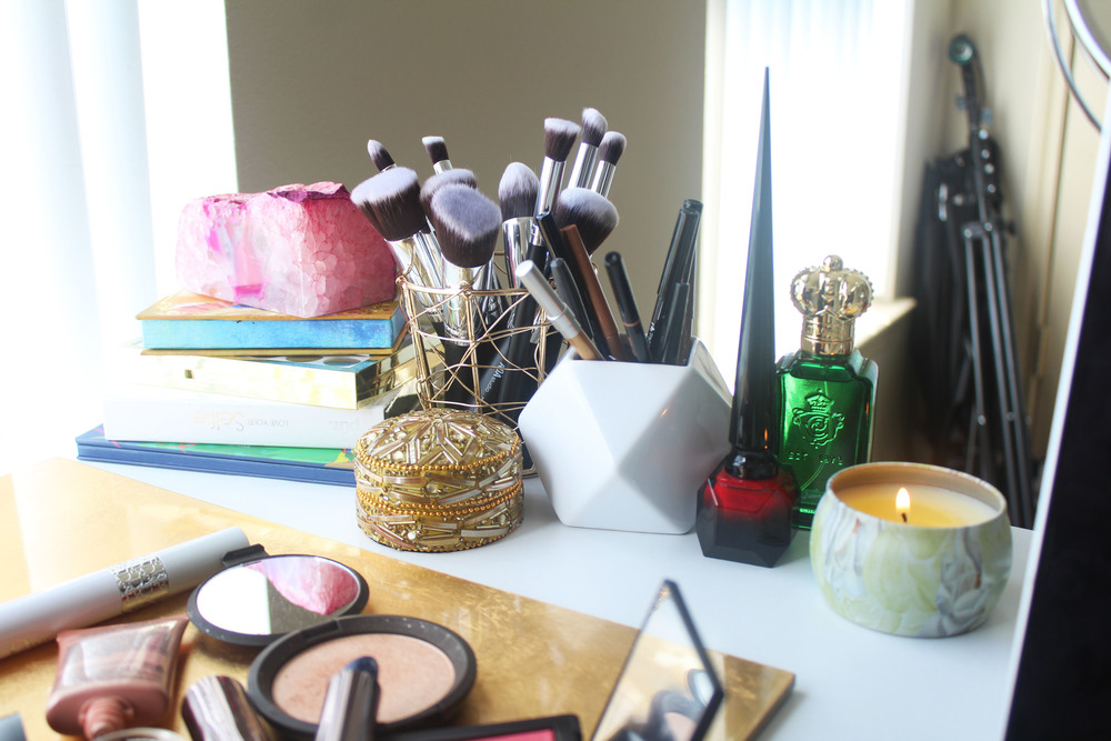 Gold Wire Pencil Holder ($4.99) // Geo Ceramic Pencil Holder ($7.99) // Embellished Box (3 pack for $9.99)