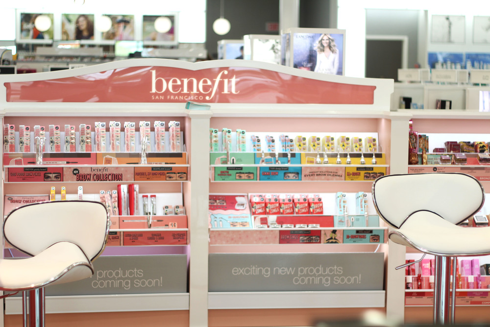 Array of Benefit products stocked at Ulta Beauty in Frisco, TX.