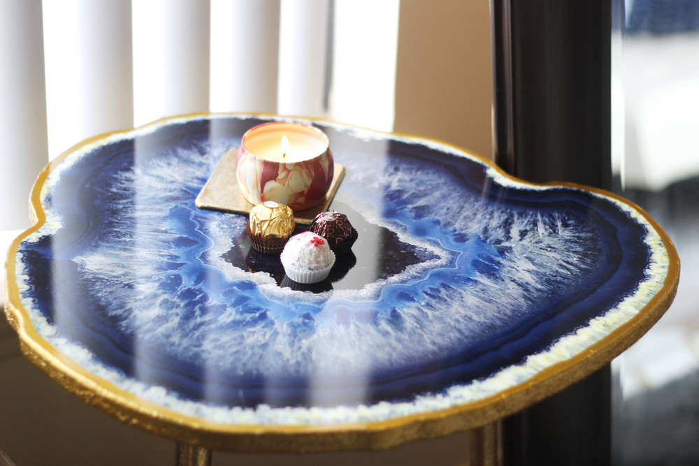 Gold Metal Agate Table - Blue ($59.99)