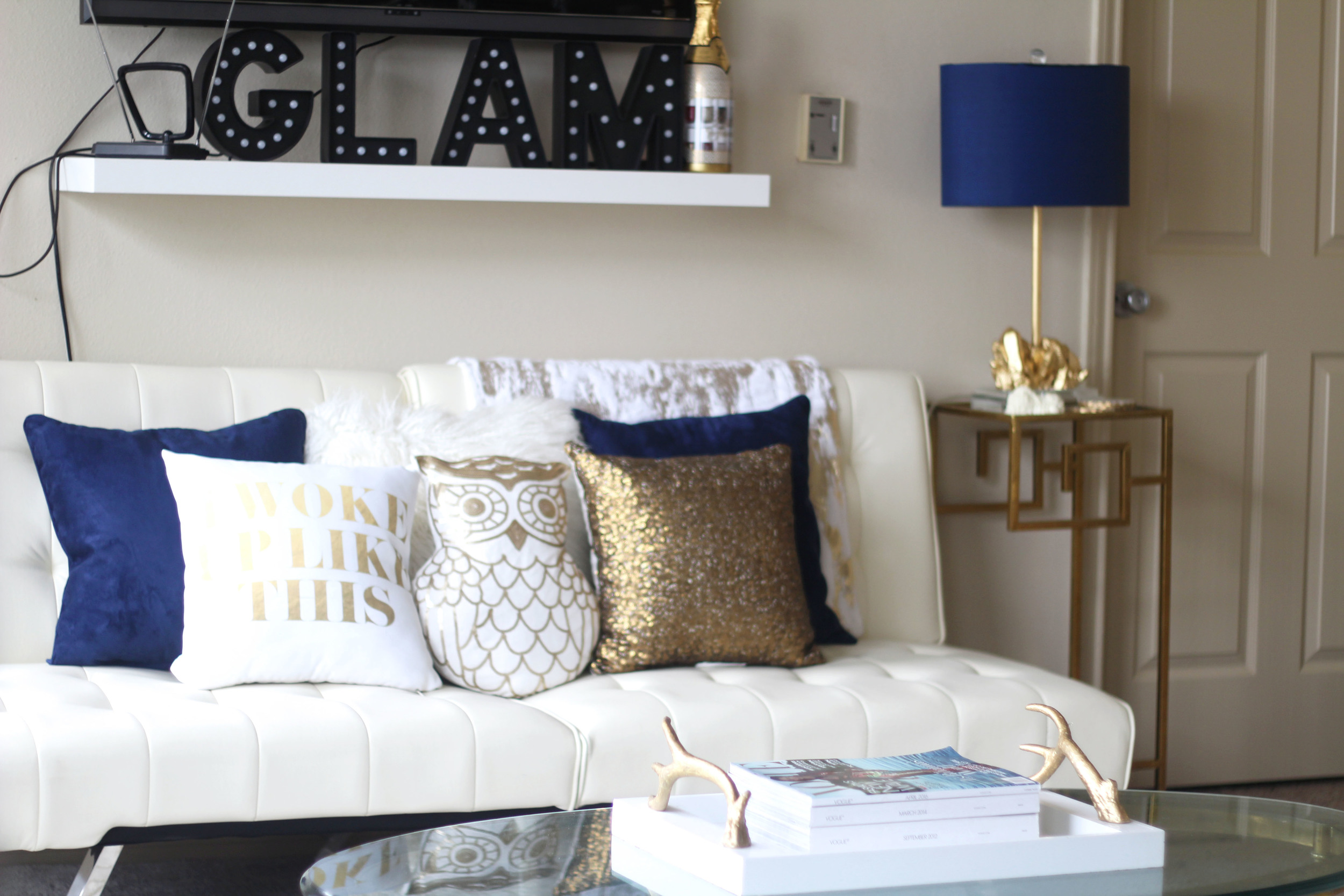 6 easy ways to update accent decor   royal blue + gold