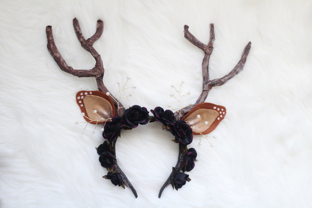 Once the hot glue has cooled down, you're ready to wear your handmade deer ears/flower crown headband!
