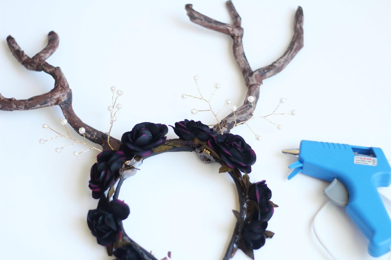 Handmade deer flower crown headband jaleesa charisse hot glue a pre made flower crown or individual flowers along the entire front of izmirmasajfo