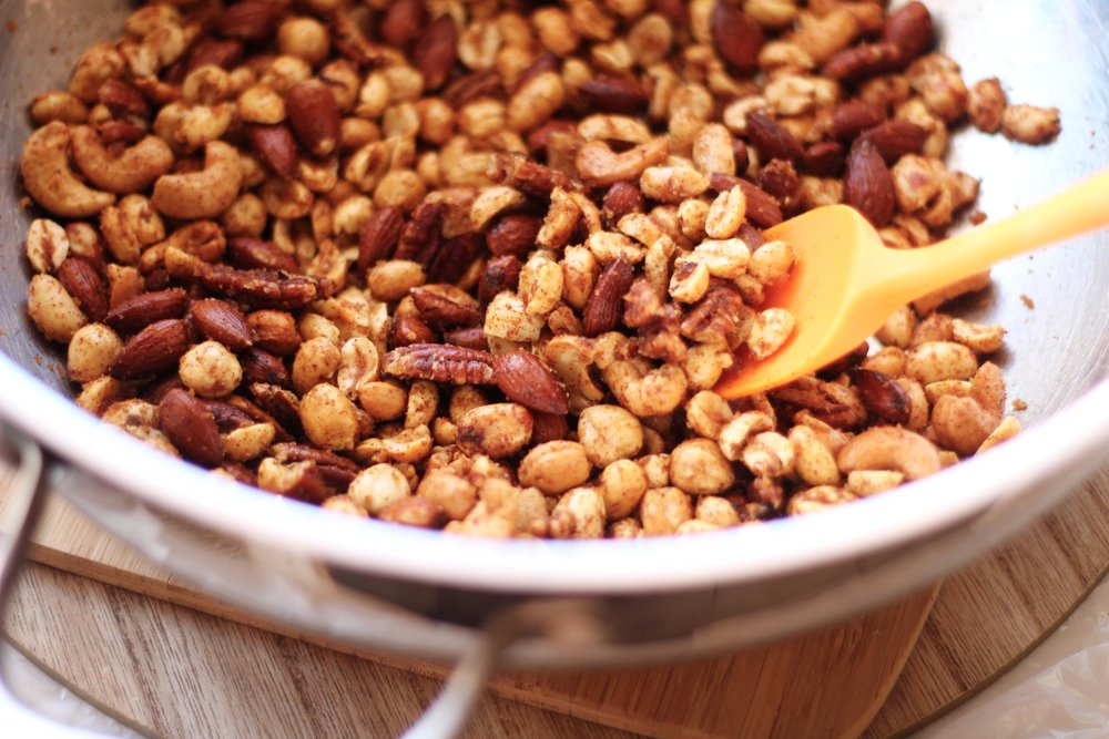 All ingredients mixed in a large bowl with the Smoothie King Mixed Nuts.