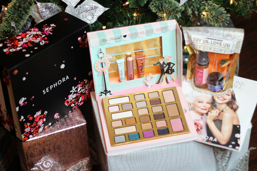 Too Faced Christmas in New York 'The Chocolate Shop' palette and Ole Henriksen stocking stuffer trial pack