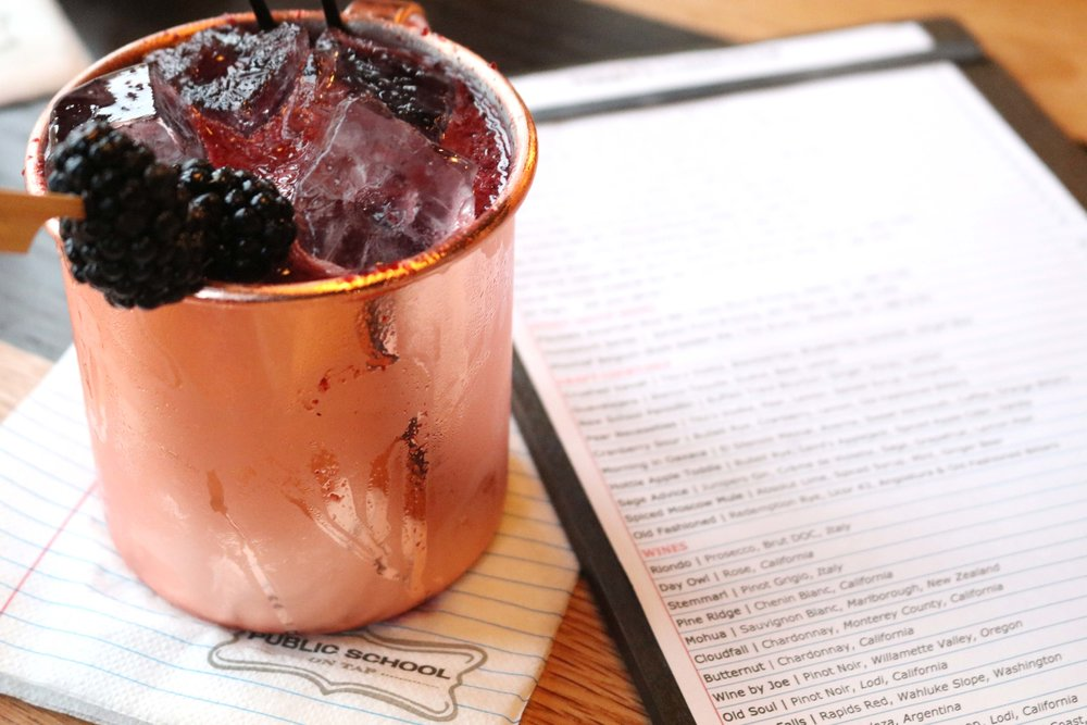 The Crushed Velvet cocktail with blackberries