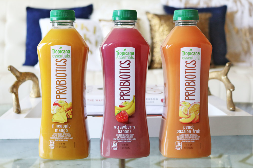Tropicana Probiotics are available in three delicious flavors:  Strawberry Banana ,  Pineapple Mango  and  Peach Passion Fruit