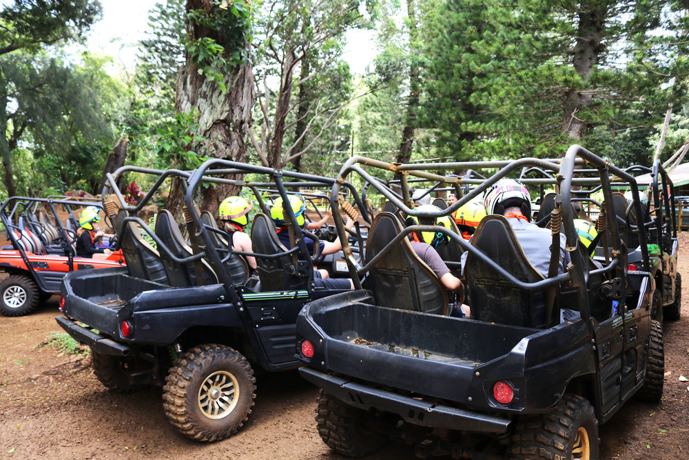 Safety orientation prior to the Kipu Ranch ATV Off-Road tour