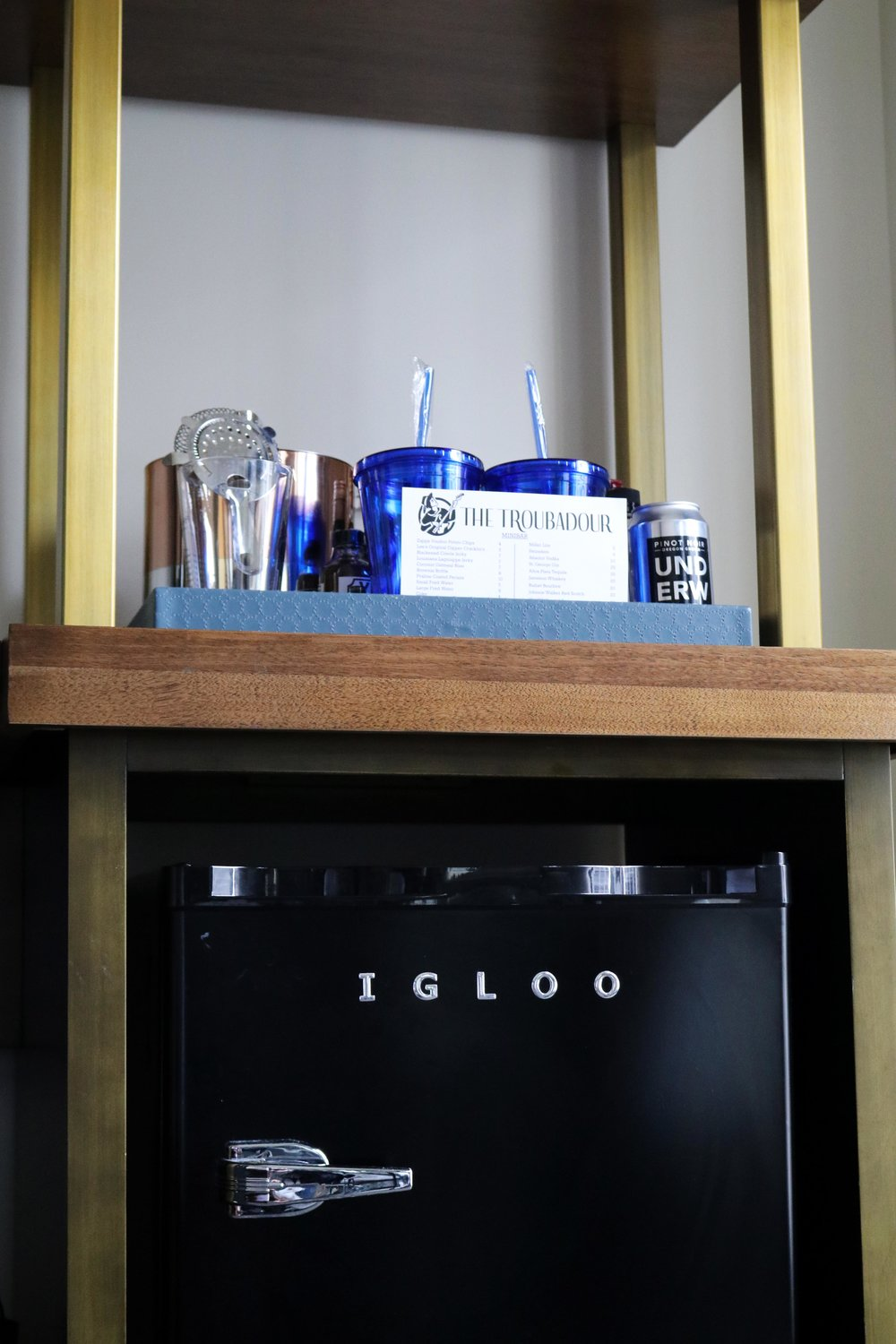 Stocked Mini Bar & Igloo Fridge
