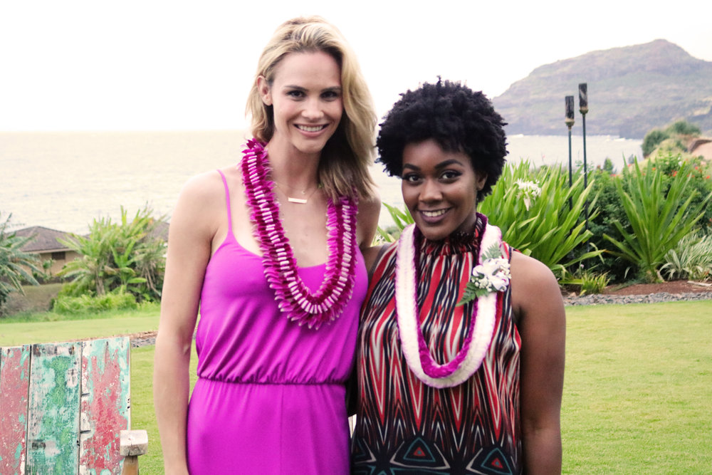 Me with Meghan Edmonds -- and I have an authentic lei on!