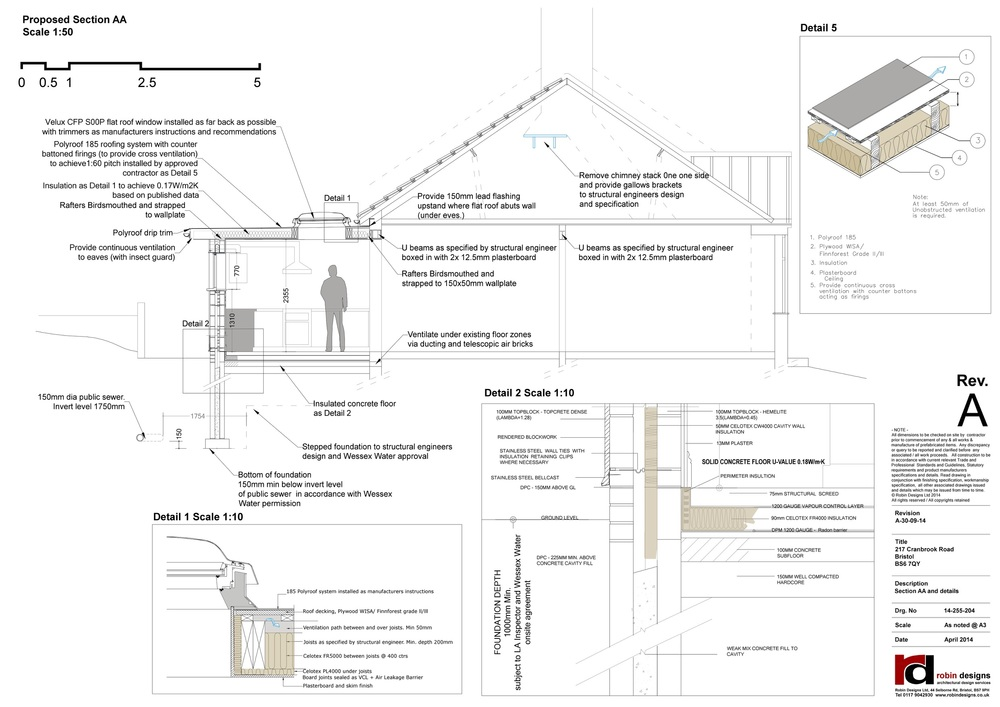 Section drawing and details for an rear extension