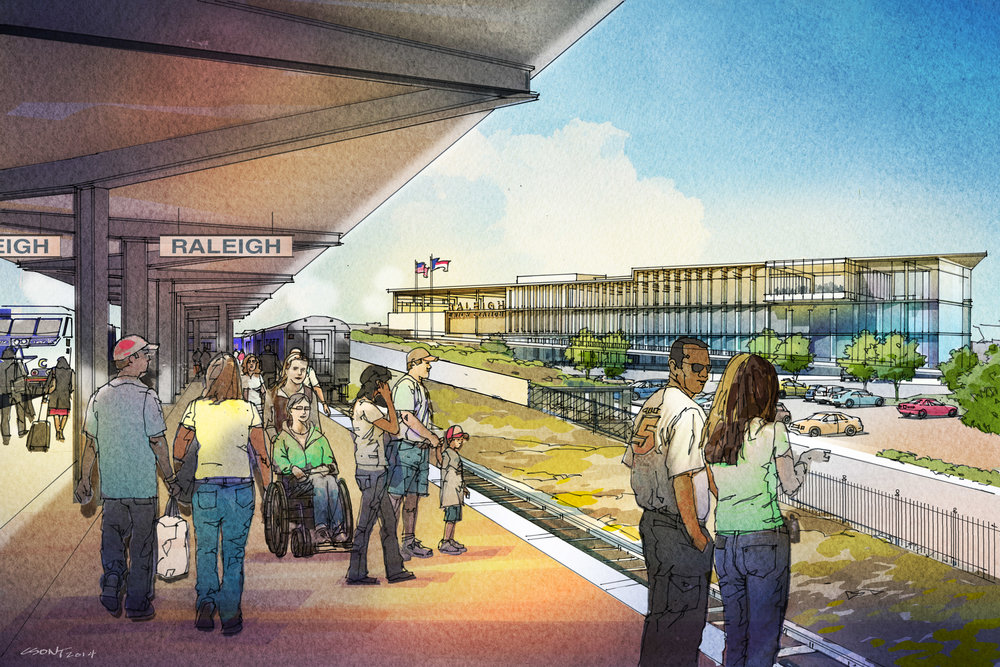 Raleigh Union Station - The notable exception is the new Raleigh Union Station which is slated for completion in early 2018. It will feature two current and four future platforms at train level. This is only the case because the track in which the platforms lie is off the main line and thus doesn't have to worry about freight clearance issues.