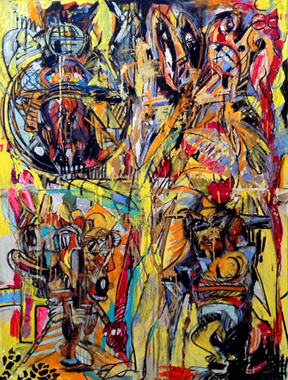 The Maskers, 2014, mixed media on paper, 48 in x 36 in (4 parts)