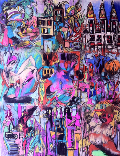 Claire & her castle, 2014, mixed media on paper, 72 in x 54 in (9 parts)