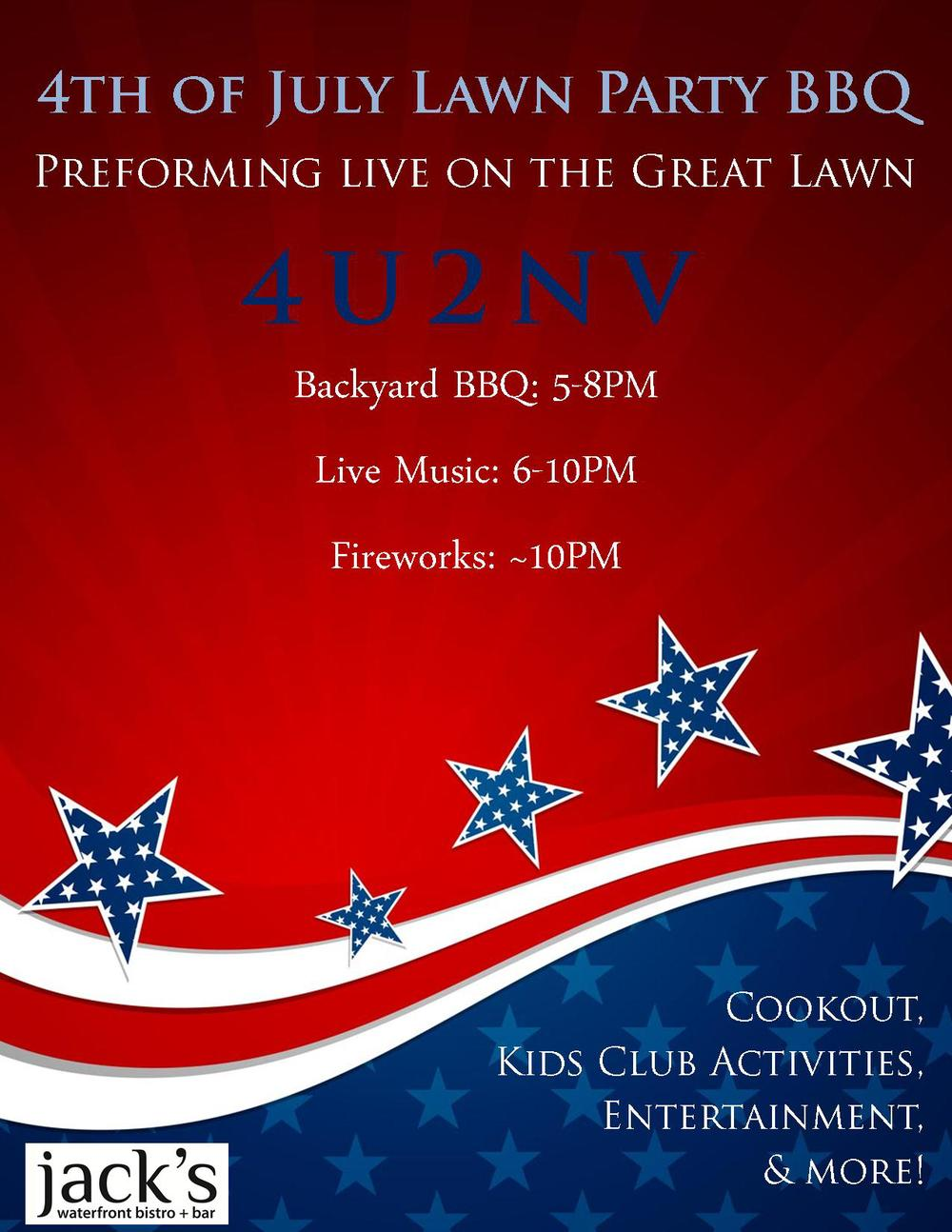 July 4, 2015 - 6pm to Fireworks Jack's Lawn
