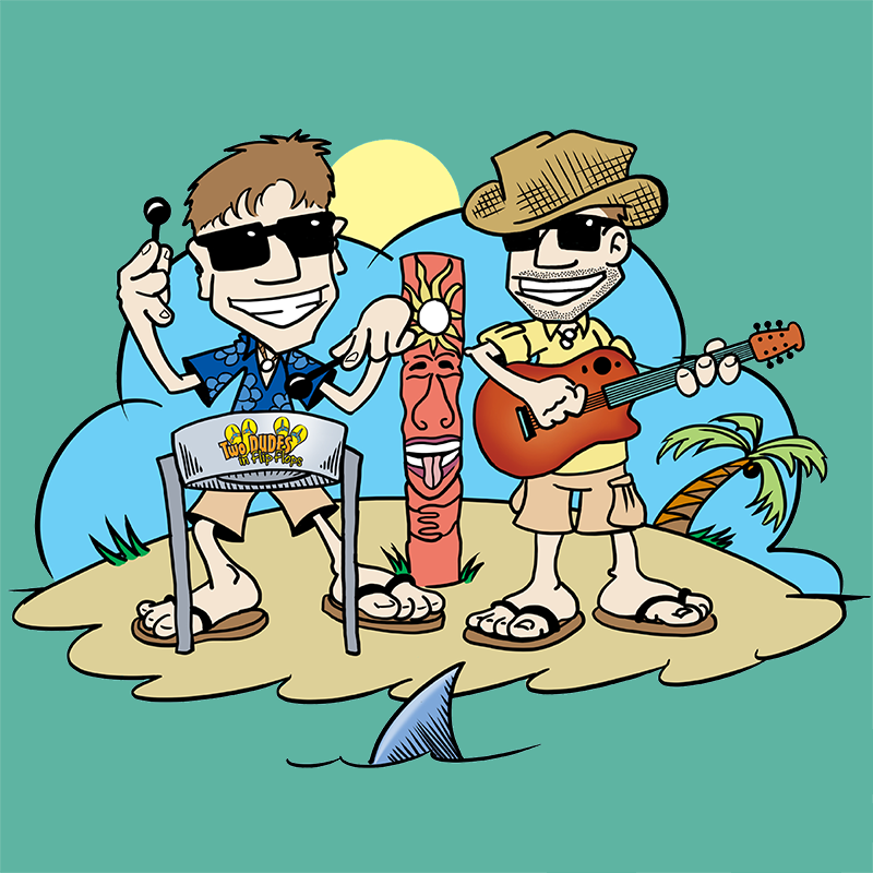 "Two Dudes in Flip Flops provide ""Trop Rock for Your Caribbean Soul"" via guitar, steel pan and tight vocal harmonies designed to take you to the islands."