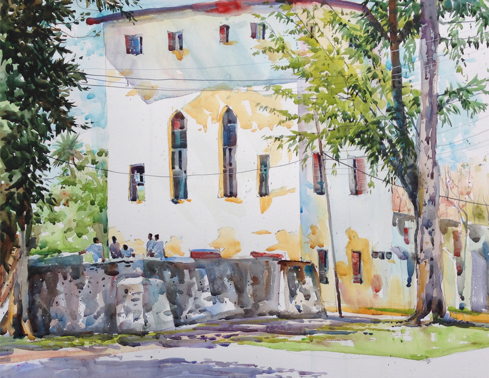 The Meeting: Bagamoyo, Tanzania  – Original watercolour by Wayne Bissky