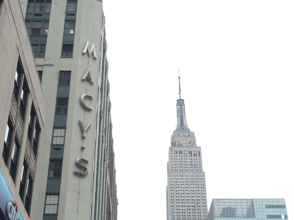 Classic Macy's sign with the Empire State Building. I love New York.