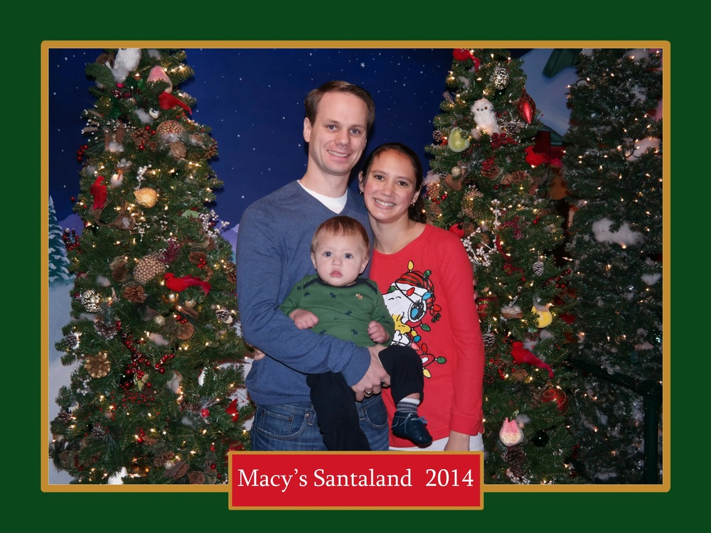 It was sweet, they take a family photo before heading in to see Santa. Yes, my snoopy sweater is awesome.
