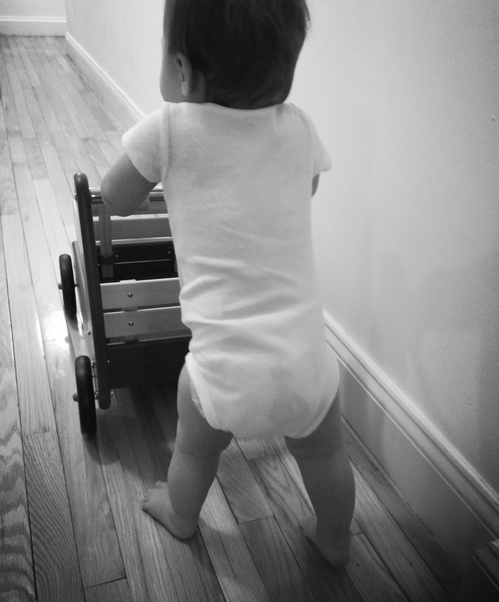 A sweet babe who while learning how to walk, remindsmama to do things one step at a time.