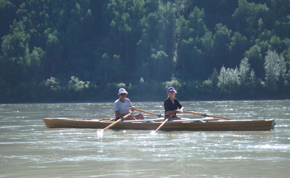 Me (right) rowing the Yukon River approaching Dawson City