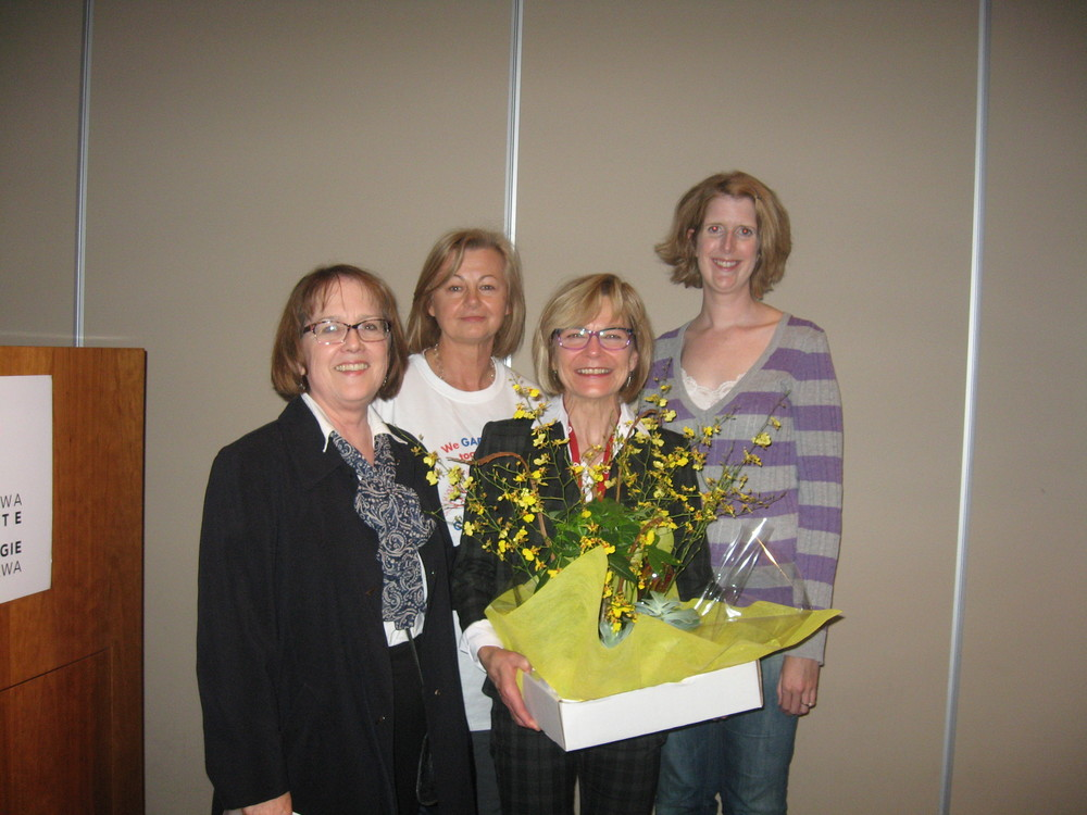 Joanne Morin, APN, Adult Heart Clinic (UOHI), known for her clinical expertise and deep compassion was nominated for by Liz Martin (right back) and awarded the 2015 Best Health Nurse Excellence Award