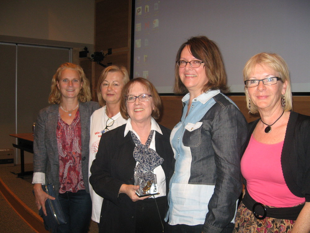Left to right: Lisa Iliadis (GADA Director), Josipa Paska (President GADA Board of Directors), Suzanne Drouin, Lucie Drouin LeBlanc and Sandra Topper (GADA Ex-Director)