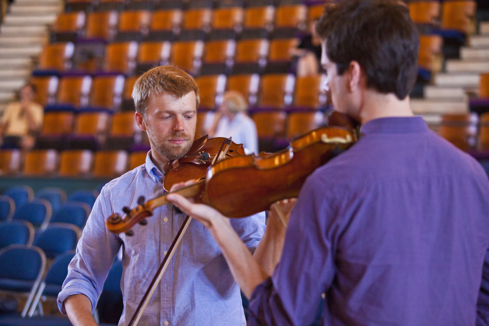 Working with composer Andrew Norman at the 2014 Cabrillo Festival of Contemporary Music. Photo: rr jones