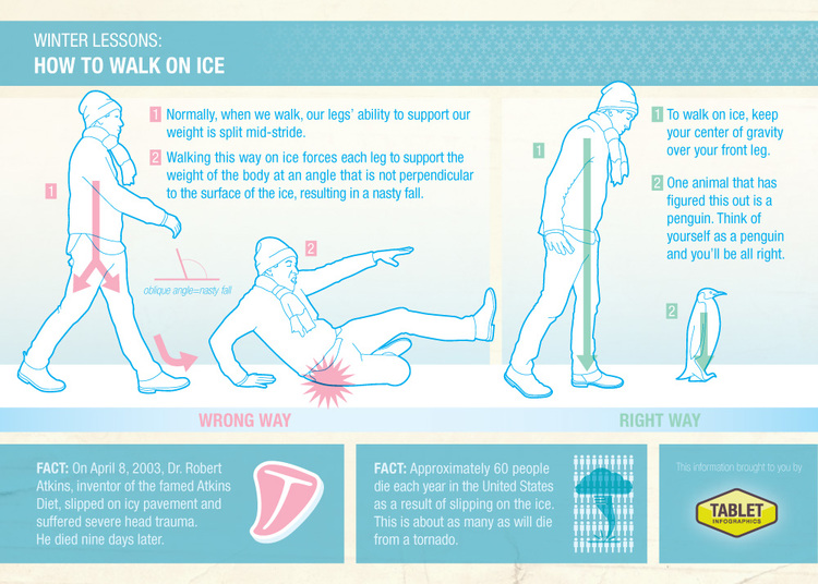 Tablet Infographic's intermittently viral advice on How to Walk on Ice:  www.tabletinfographics.com/#/ice/