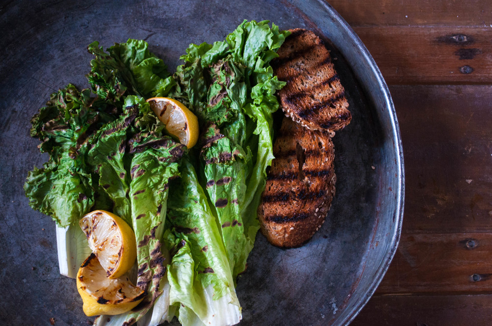Simply Grilled Romaine with Warm Maple-Lemon Vinaigrette